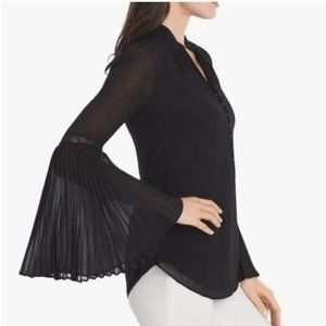 WHBM Black Sheer Pleated Sleeve Blouse